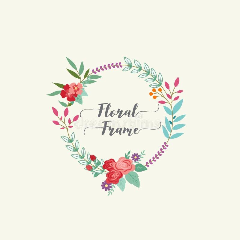 Urocza i romantyczna kwiecista rama ilustracji