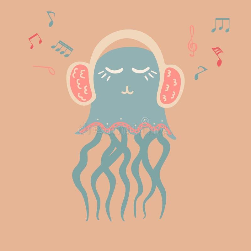 Urocza ilustracja z jellyfish miłośnikiem muzyki ilustracja wektor