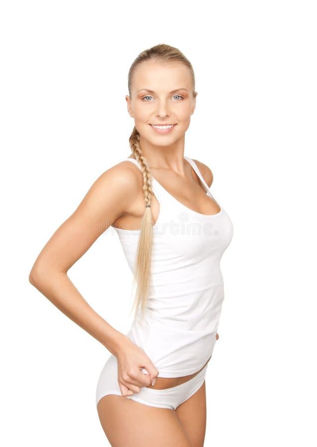 Urocza kobieta w białej bawełnianej bieliźnie zdjęcia stock