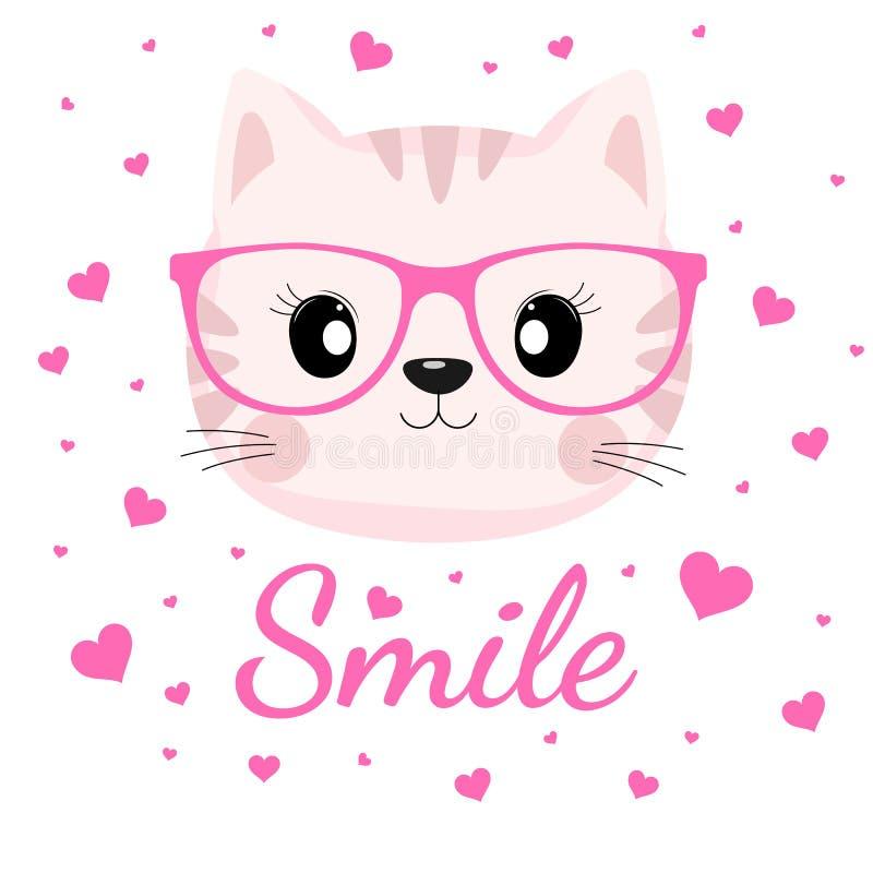 Urocza kot twarz w szkłach z różowymi sercami na białym tle ilustracja wektor