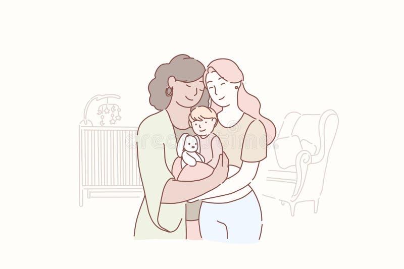 Urocza lesbian rodzina Dwa dorosłej kobiety i małego dziecko stoi wpólnie w dzieci s pokoju w domu Żona i żona ilustracji