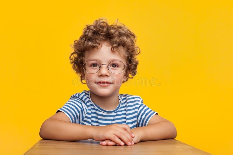 Urocza mądrze chłopiec w studiu zdjęcie royalty free