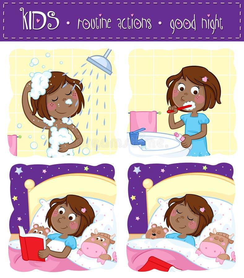 Urocza mała czarna dziewczyna i jej dobranoc rutyna - natryskiwanie, ząb szczotkuje, czytający pora snu opowieść, śpi ilustracja wektor