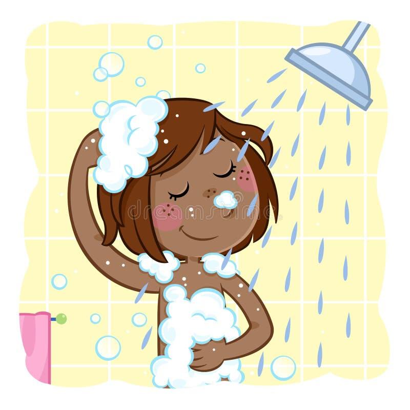 Urocza mała czarna dziewczyna shampooing jej ciemnego brązu włosy ilustracja wektor