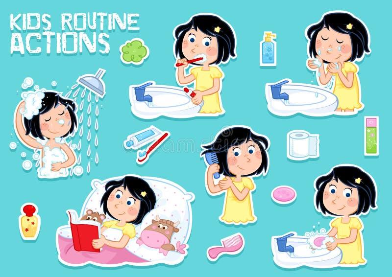 Urocza mała dziewczynka i higiena set sześć clipart ilustracj - dzienna rutyna - ilustracji