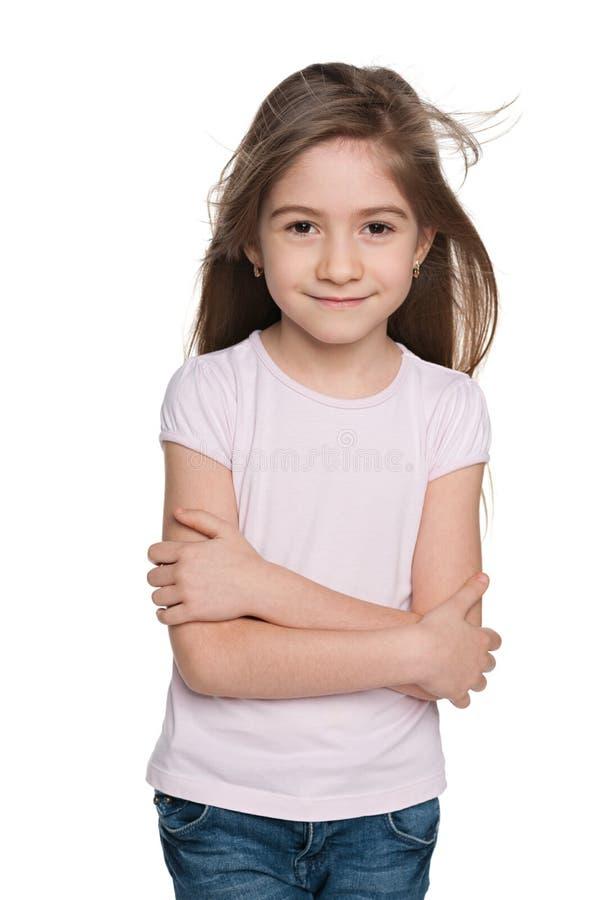 Download Urocza Mała Dziewczynka Przeciw Bielowi Obraz Stock - Obraz złożonej z śliczny, dziewczyna: 41951437