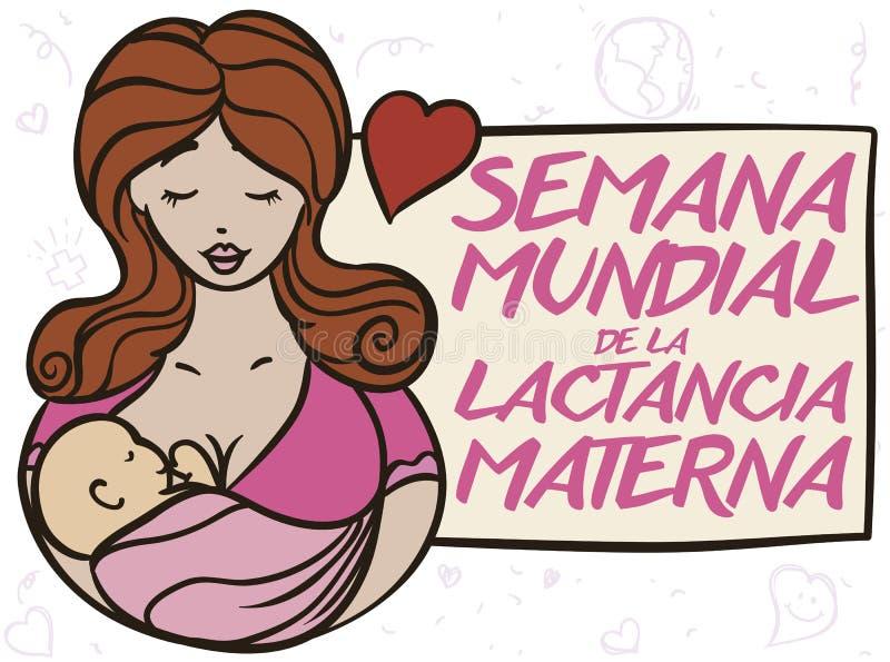 Urocza mama z jej dzieckiem Promuje światu Breastfeeding tydzień, Wektorowa ilustracja royalty ilustracja