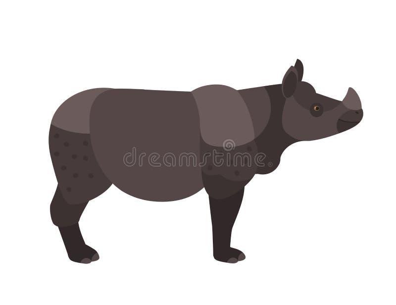 Urocza nosorożec lub nosorożec odizolowywający na białym tle Śliczny dziki egzotyczny trawożerny zwierzę z rogiem zagrażający royalty ilustracja