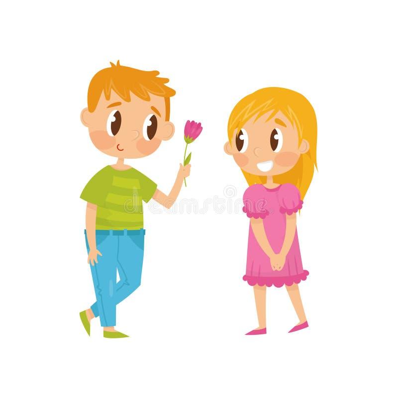 Urocza płaska wektorowa ilustracja dwa małego dziecka Chłopiec daje kwiatu dziewczyna pierwsza miłość Walentynki s dzień ilustracja wektor