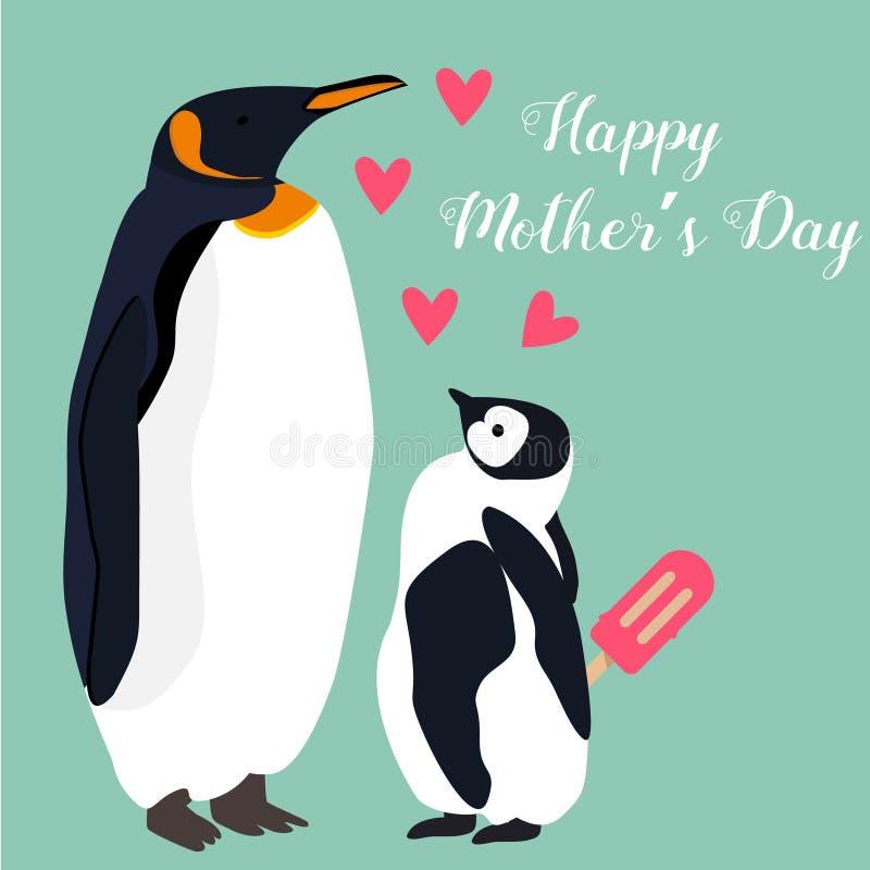 Urocza pocztówka z pingwinami dla matka dnia royalty ilustracja