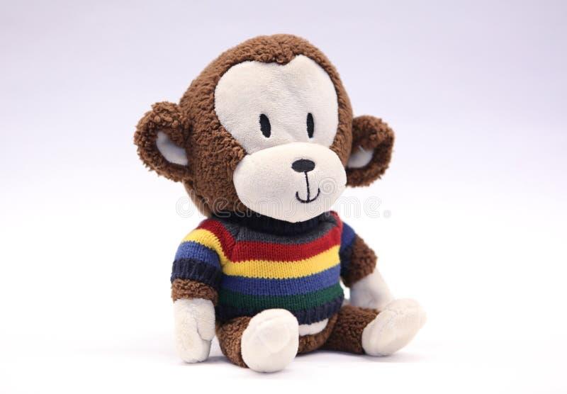 Urocza Szczęśliwa Faszerująca małpa w Jaskrawym Pasiastym pulowerze obraz royalty free