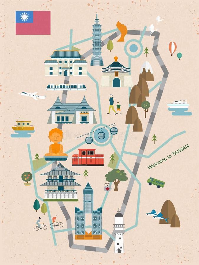 Urocza Tajwańska podróży mapa ilustracja wektor