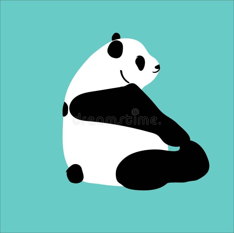 Urocza wektorowa panda siedzi stopę i bawić się ilustracji