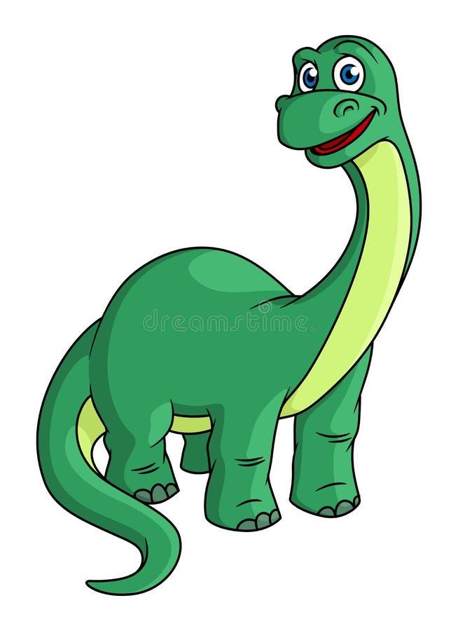Urocza zielona kreskówka dinosaura maskotka royalty ilustracja