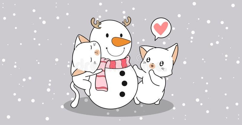 Urocze koty przytulają bałwana ilustracji