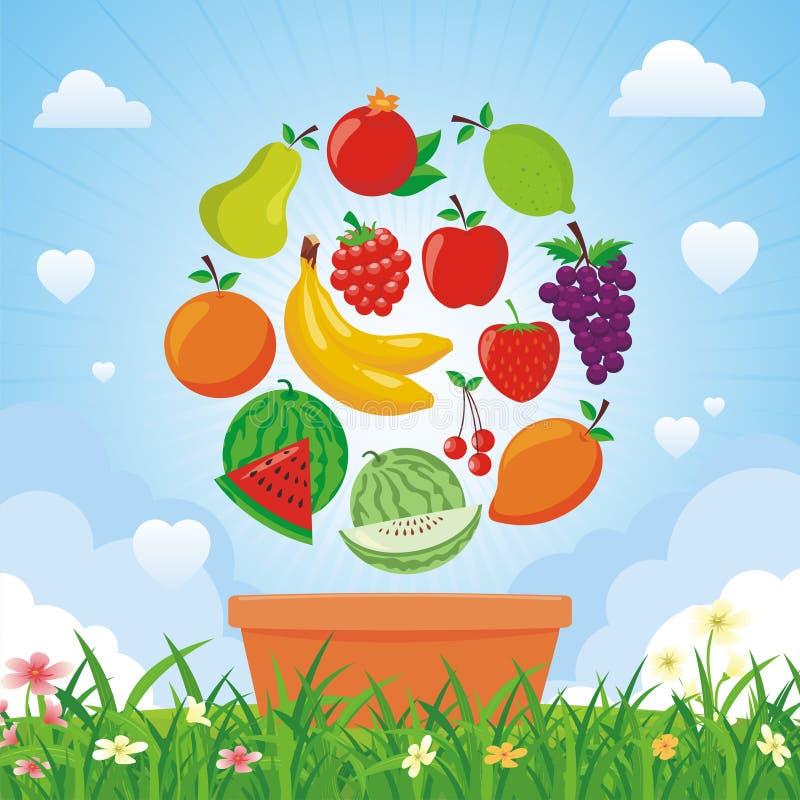 Uroczego Świeżych owoc tła wektorowy projekt royalty ilustracja