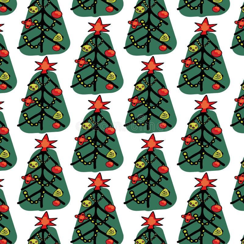 Uroczego bożych narodzeń i nowego roku pojęcia bezszwowy wzór dla zima wakacji ornamentów w jaskrawych kolorach Elegancka zima ilustracji
