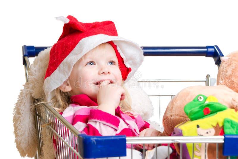 uroczego dziecka kapeluszowe Santa zabawki zdjęcie stock