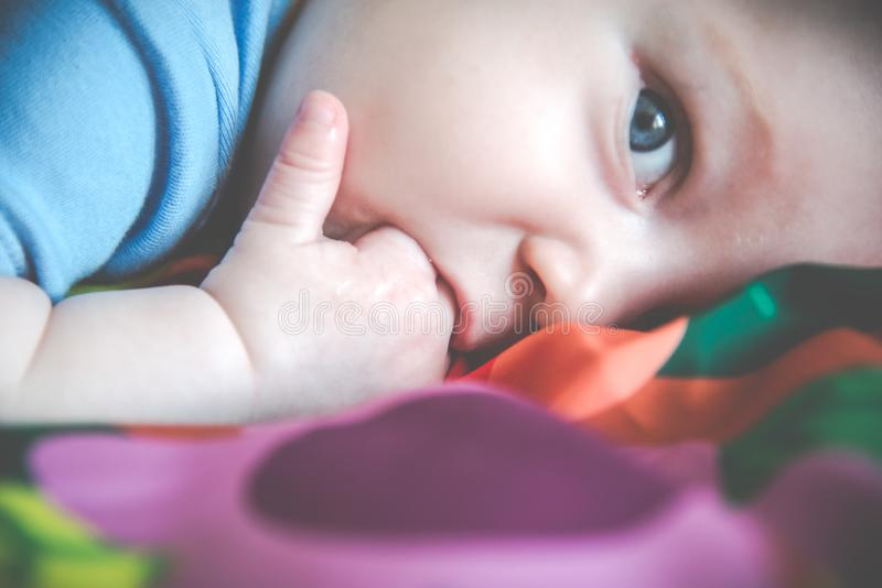 Uroczego Małego dziecka łgarski zbliżenie obraz royalty free