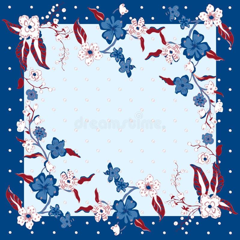 Uroczego tablecloth etniczni kwiaty Piękny wektorowy ornament Karta, bandany druk, chustka projekt, pielucha Zmrok - błękit obraz stock