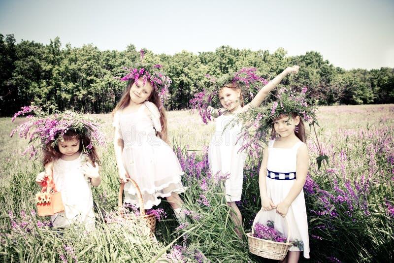 uroczej cztery dziewczyny zdjęcie royalty free