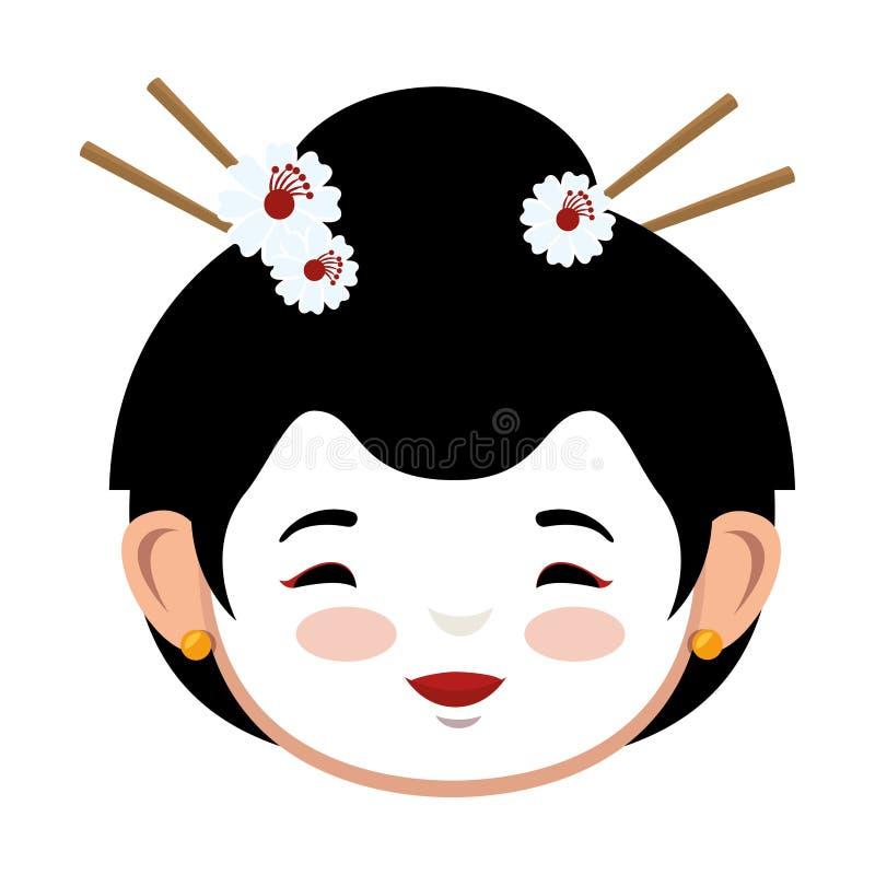 Uroczej dziewczyny ikony czerwona kimonowa japońska grafika ilustracja wektor