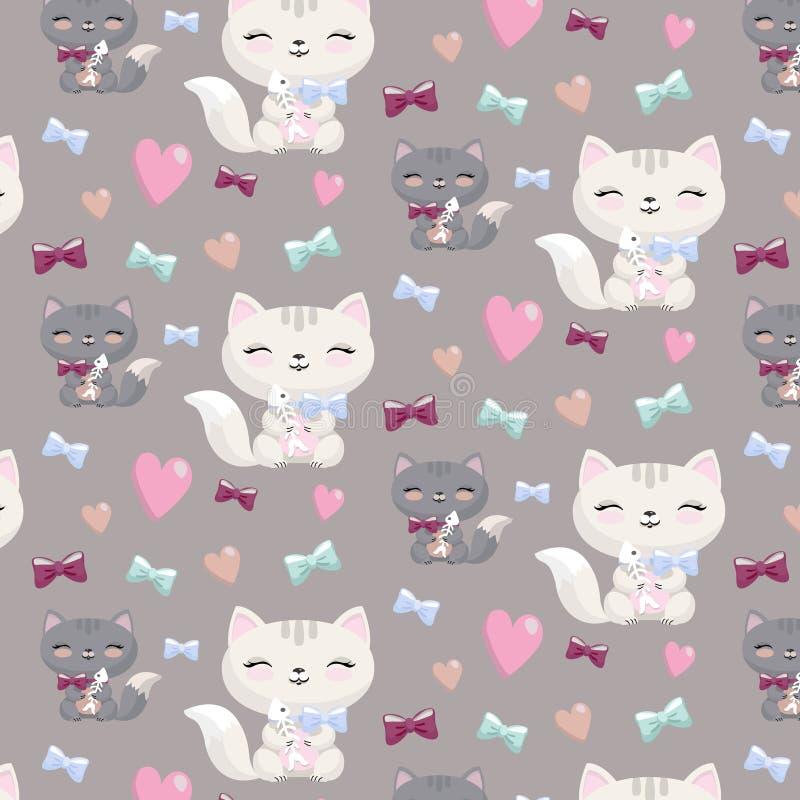 Uroczej kreskówki bezszwowy wzór z kotami, serca, kości royalty ilustracja