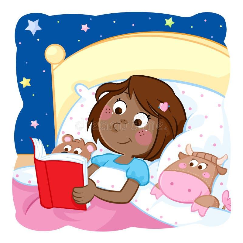 Uroczej małej czarnej dziewczyny pora snu czytelnicza opowieść jej śmieszne zabawki ilustracja wektor