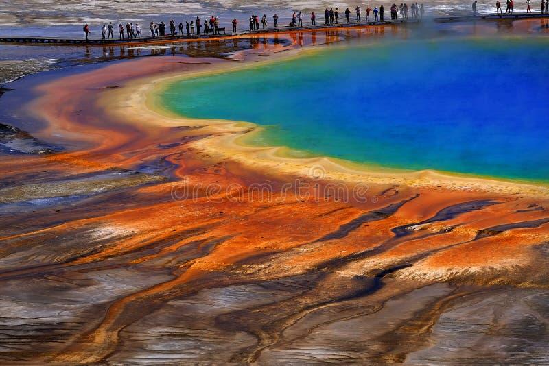 Uroczyści Graniastosłupowi wiosny Yellowstone parka narodowego turyści Viewin obrazy stock