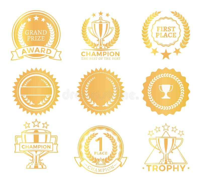 Uroczyści Nagrodzoni trofea Ustawiający, Wektorowa ilustracja ilustracja wektor