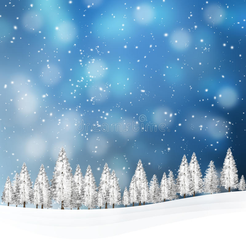 Uroczy śnieżny zima krajobraz z drzewami ilustracja wektor