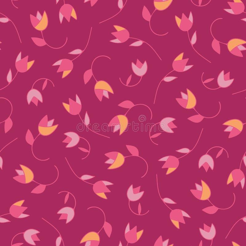 Uroczy abstrakcjonistyczni wektorowi kwieciści bezszwowi deseniowi tulipany Modna ręka rysować tekstury Nowożytny abstrakcjonisty royalty ilustracja