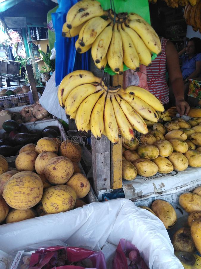 Uroczy banany, mango i grapez obraz royalty free