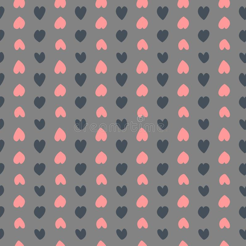 Uroczy bezszwowy wektoru wzór z sercami Czerwony i czarny element układał na ciemnym tle Nieko?cz?cy si? tekstura ilustracja wektor