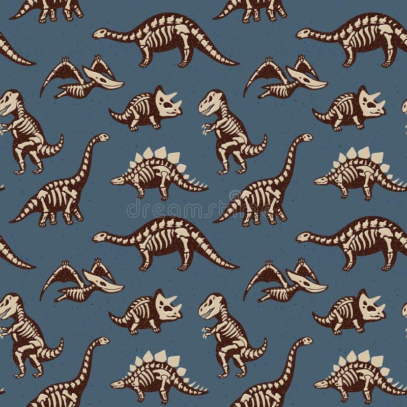 Uroczy bezszwowy wzór z śmiesznymi dinosaurów koścami w kreskówka stylu royalty ilustracja