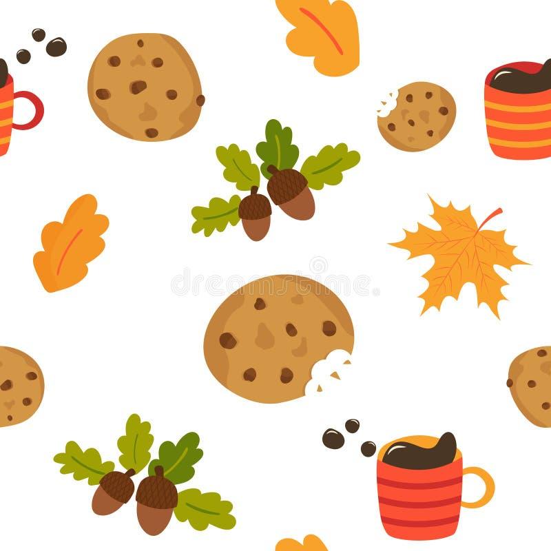 Uroczy bezszwowy wzór z kubkiem kawowi ciastka ilustracja wektor