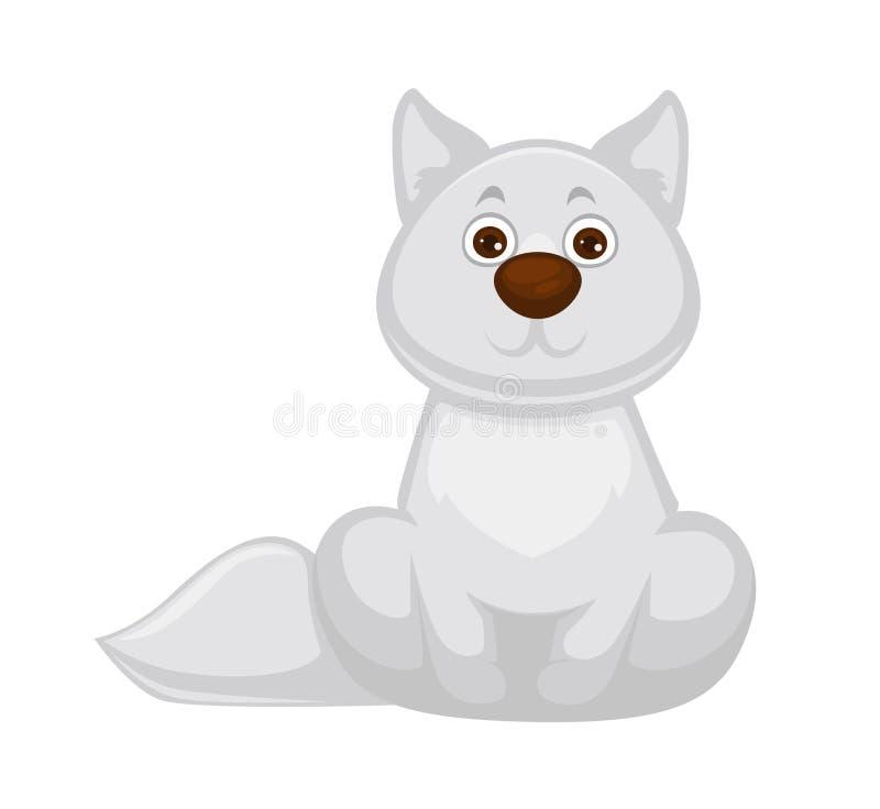 Uroczy białego lisa dziecko z dużym brown nosem ilustracja wektor