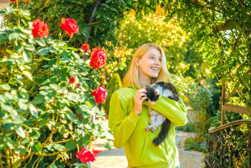 Uroczy blondynki mody dziewczyny uściśnięcia kot Cieszy si? jesie? sezon Jesie? jest tutaj ?adna kobieta niesie kota zwierz?cia K zdjęcie stock