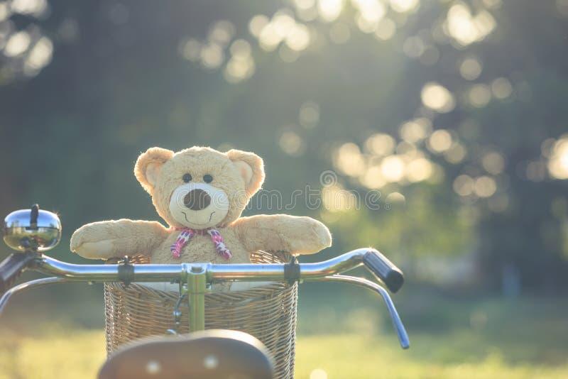 Uroczy brown miś w rattan koszu na rocznika rowerze w gree zdjęcie stock