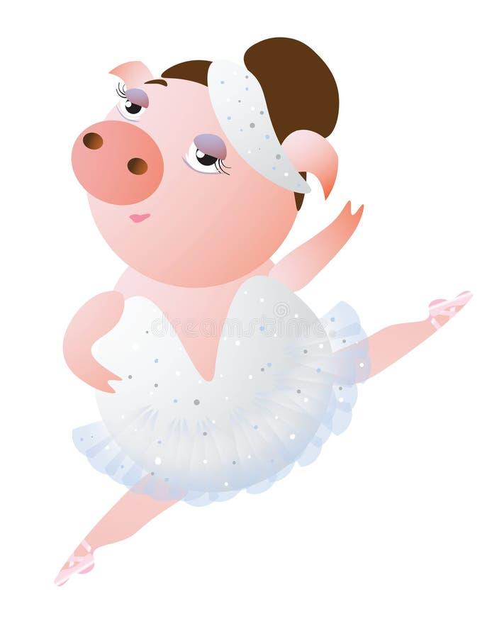 Uroczy dancingowy prosiaczek w baletniczej spódniczce baletnicy royalty ilustracja