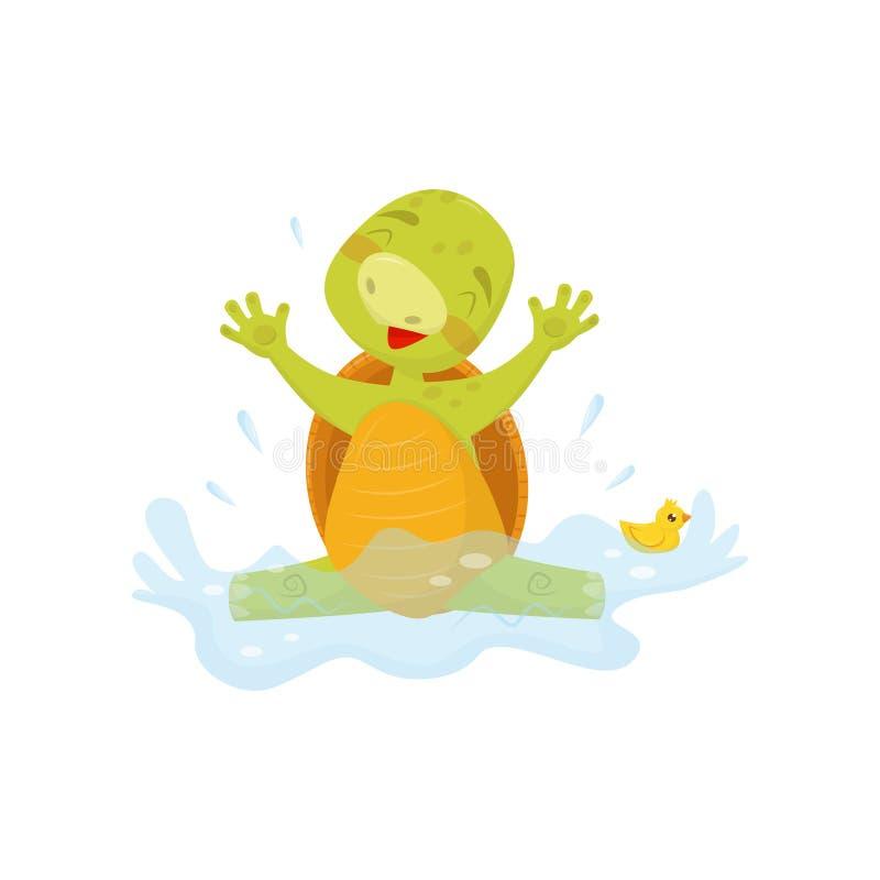 Uroczy dennego żółwia chełbotanie w wodzie z gumową kaczką Zielony gad z brown skorupą Płaski wektor dla majcheru, plakat royalty ilustracja