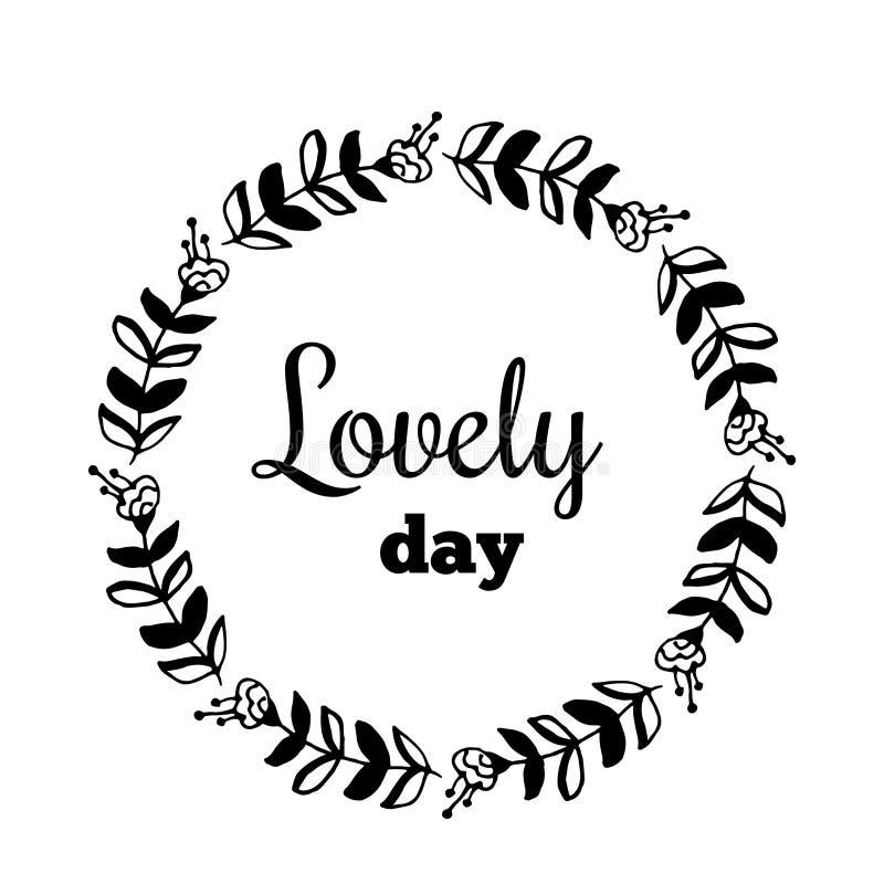 Uroczy dnia teksta kwiatu wianek, ręka rysujący bobek Kartka z pozdrowieniami projekt dla zaproszeń, wycena, blogi, plakaty Wekto ilustracji