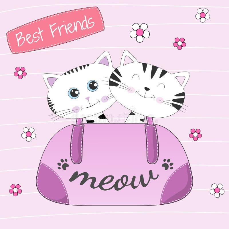 Uroczy dwa kota siedzi w dziewczyny torbie Najlepsi Przyjaciele ilustracji