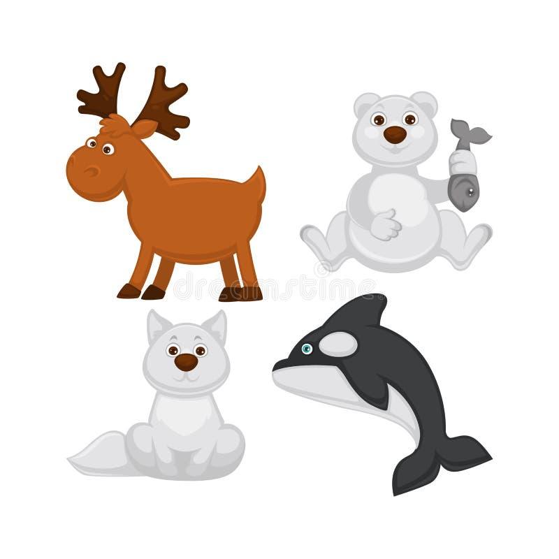 Uroczy dzieci zwierzęta od zimnych kraj ilustracj ustawiać ilustracja wektor