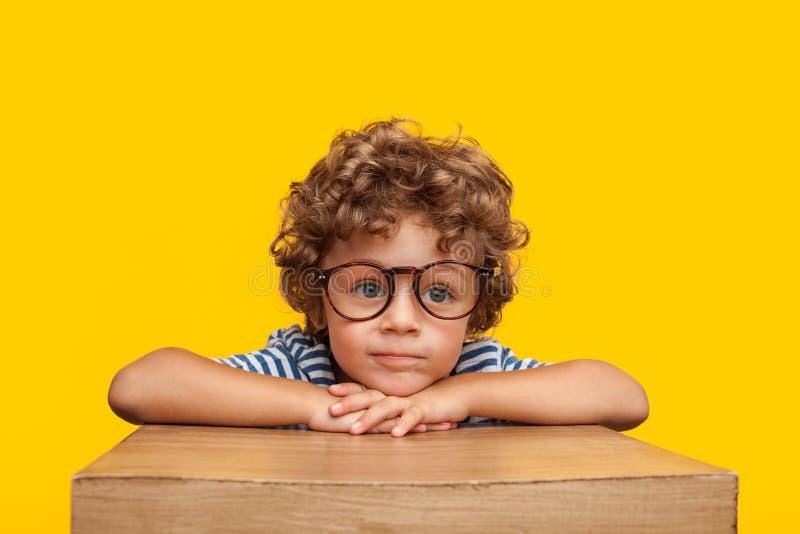 Uroczy dzieciak w szkłach w studiu fotografia royalty free