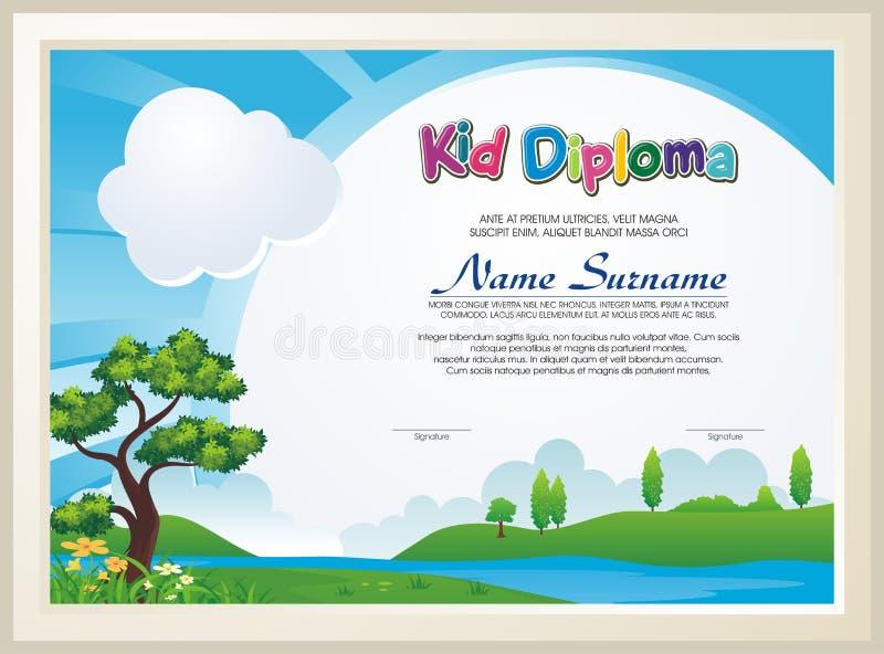 Uroczy dzieciaka dyplom z natura krajobrazem ilustracja wektor