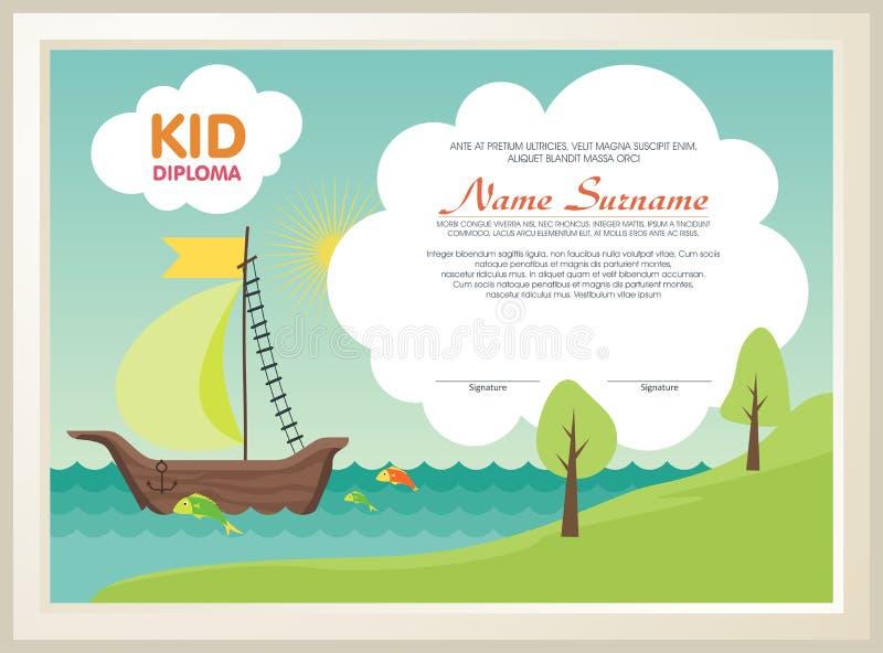 Uroczy dzieciaka dyplom z natura krajobrazem royalty ilustracja