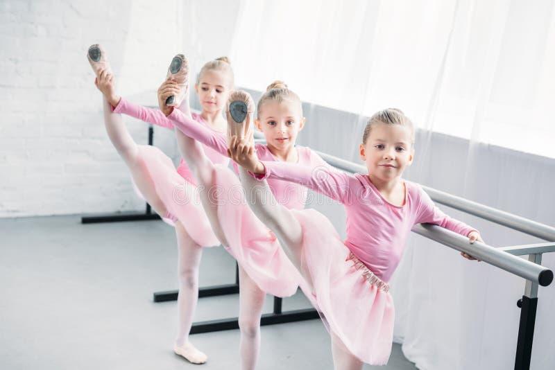 uroczy dzieciaki w różowym spódniczka baletnicy omijają ćwiczyć baletniczy i patrzeć kamerę fotografia royalty free