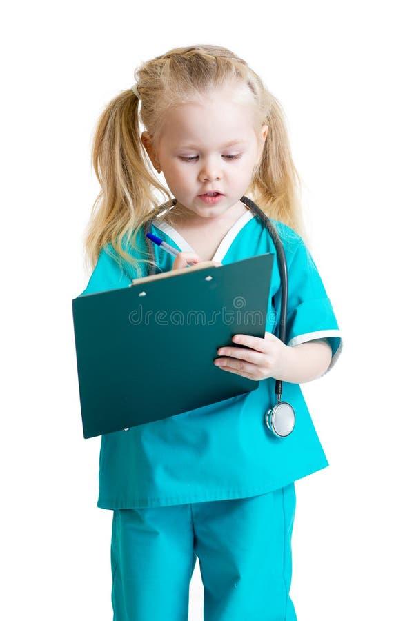 Uroczy dziecko mundurujący jak lekarka obraz royalty free