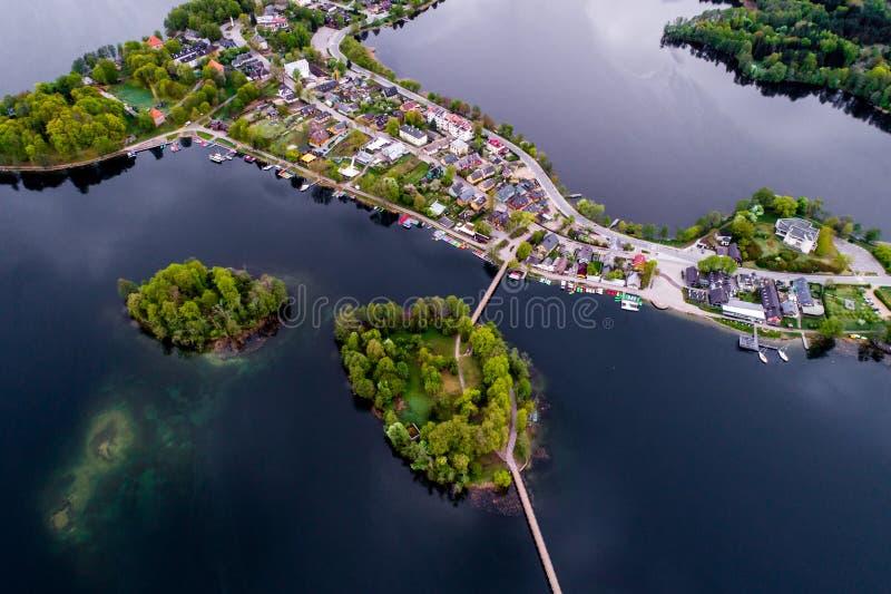 uroczy Europa Litewski miasto Trakai, antena zdjęcia royalty free